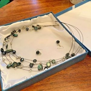 Black and silver multiple strand Necklace/earrings